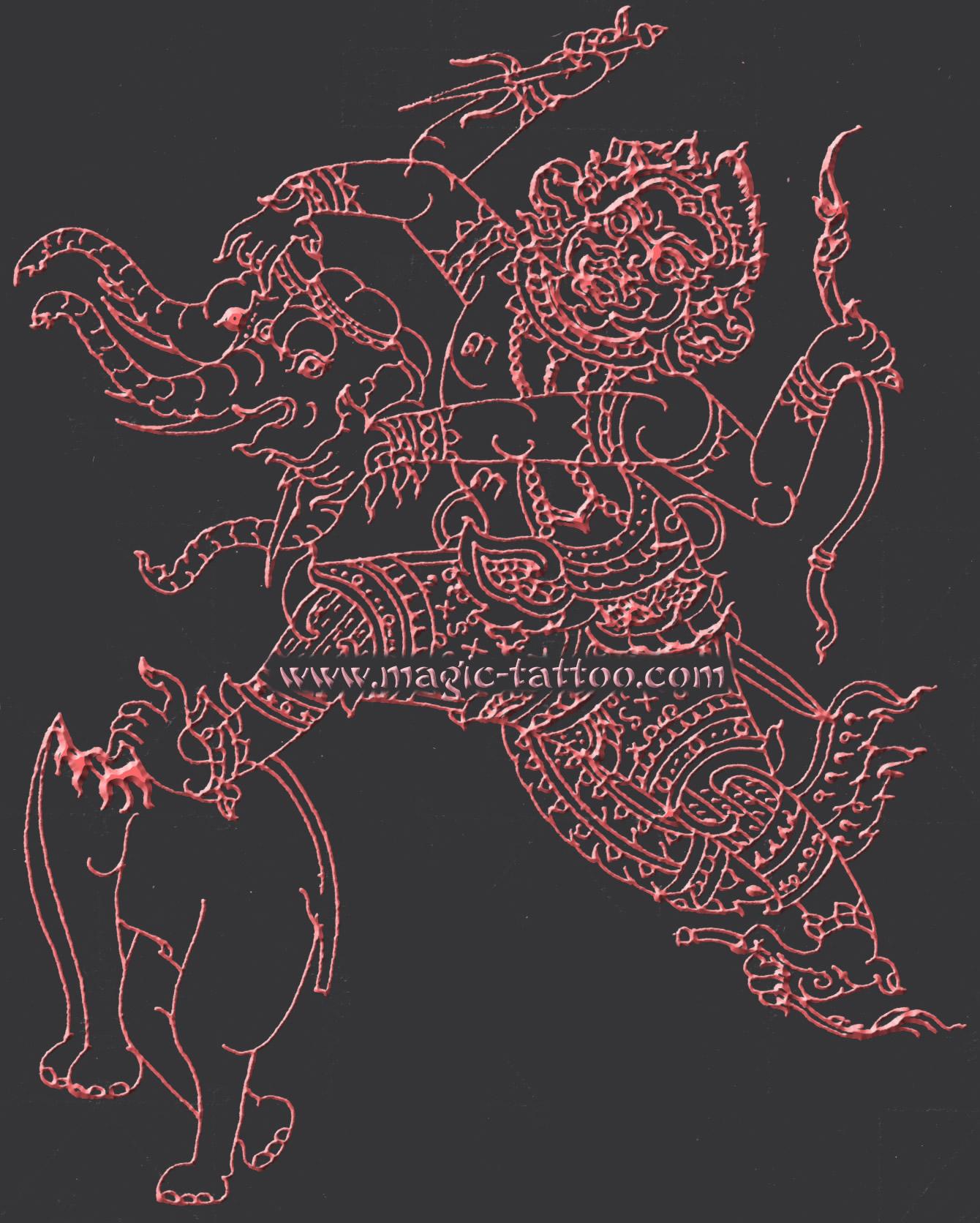 Sak Yant Hanuman Tattoo Yantra Tattoos With The Mythical God Hanuman