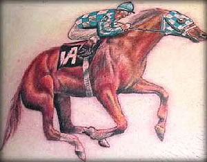 Horse with Jockey tattoo