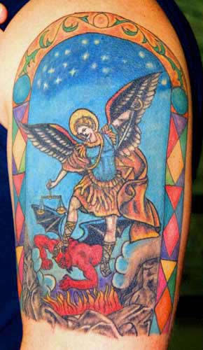 Angel defeated devil Tattoo