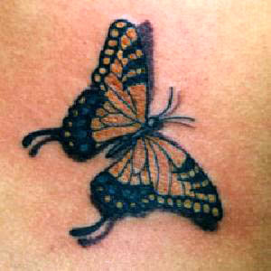Red blue butterfly tattoo