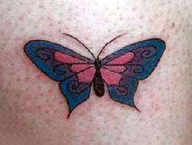 Stylized butterfly tattoo