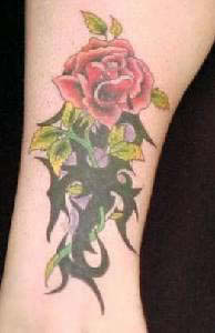 Rote Rose Tattoo mit Ranken