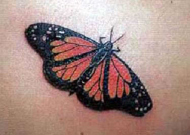 Red butterfly tattoo
